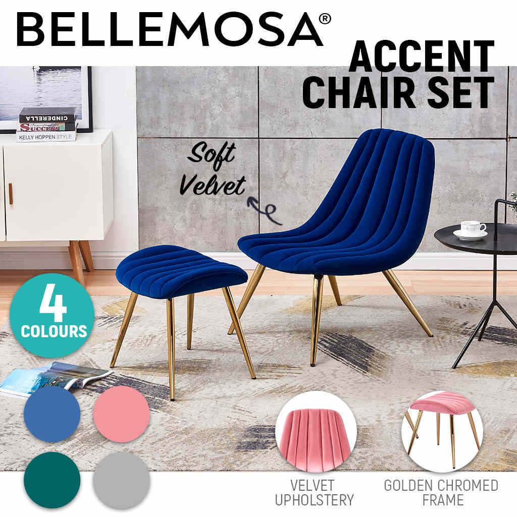 Bellamosa Modern Velvet Accent Chair Luxury Ottoman Stool Gold Chromed Legs Ebay